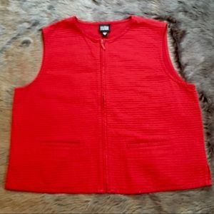 EILEEN FISHER VEST Small Red EUC Boxy Zip Pockets